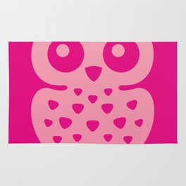 Cute Pink Baby Owl Rug