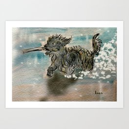 My dog fetching a stick Art Print