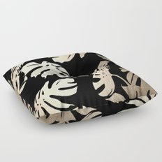 Simply Palm Leaves in White Gold Sands on Midnight Black Floor Pillow