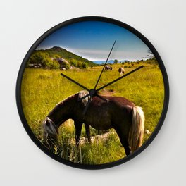 Wild Ponies of Grayson Highlands Wall Clock