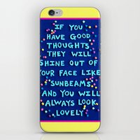 """roald dahl iPhone & iPod Skins featuring Roald Dahl """"If you have good thoughts they will shine out of your face like sunbeams..."""" by Rachel Mayer Art"""