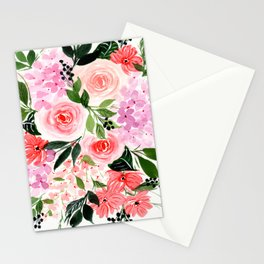 Pink and Red Roses Loose Floral Bouquet Stationery Cards