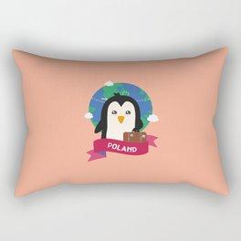 Penguin Globetrotter from Poland T-Shirt Rectangular Pillow