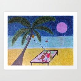 Ozzi and Lulu, the Beach Art Print