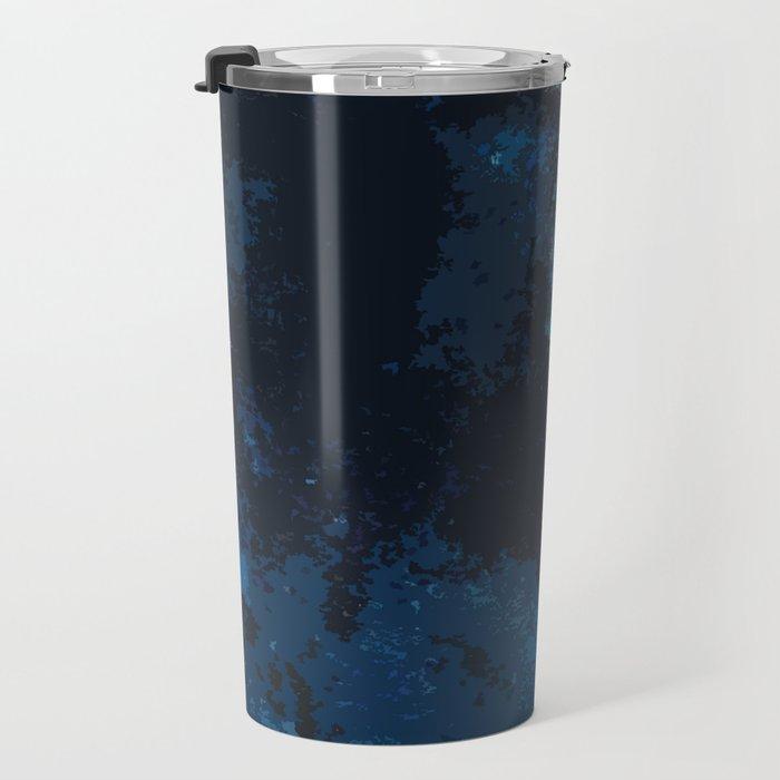 Blue and black bird ink painting Travel Mug