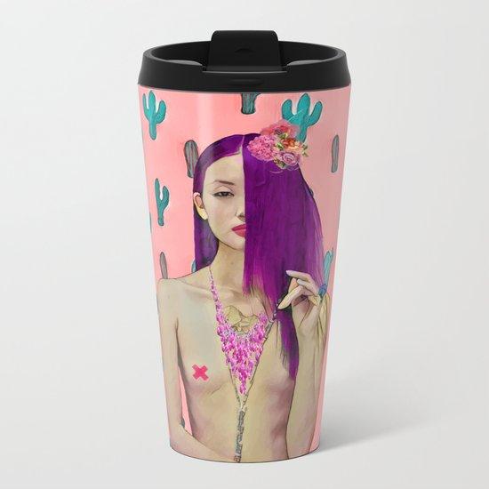 Pink Cactus and beauty model Metal Travel Mug