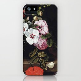 """Cornelis Kick """"Roses, poppies, hollyhocks, a marigold and other flowers"""" iPhone Case"""