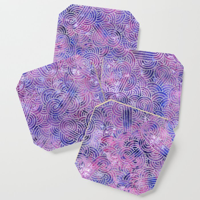 Purple and faux silver swirls doodles Coaster
