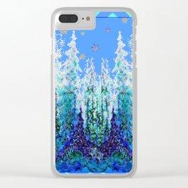 Western  Blue Modern Art Mountain Blue Winter Trees  Art Clear iPhone Case