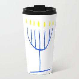 blue menorah,Hanukkah,jewish,jew,judaism,Festival ofLights,feast of Dedication,jerusalem,lampstand Travel Mug