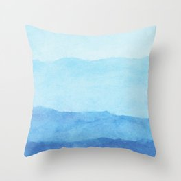 Ombre Waves in Blue Throw Pillow