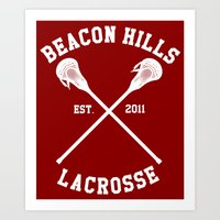 lacrosse Art Prints featuring Beacon Hills Lacrosse by Meg!