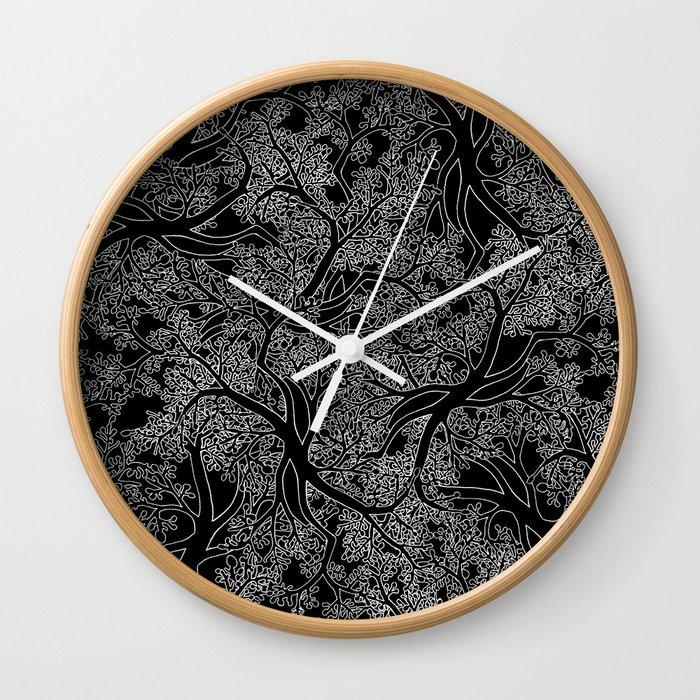 Tree Repeat Black Wall Clock