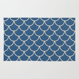 Blue & Beige Fish Scales Pattern Rug