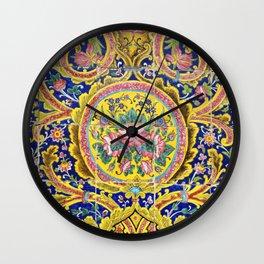 Floral Persian Tile Wall Clock