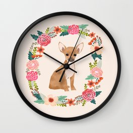 chihuahua floral wreath flowers dog breed gifts Wall Clock