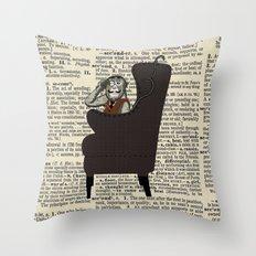 Detective Monkey Throw Pillow
