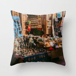 Colorful Market Marrakesh   photo print souvenir shop souk North Africa Throw Pillow