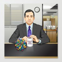 michael scott Canvas Prints featuring Steve Carell as Michael Scott (The Office) by Leo Maia