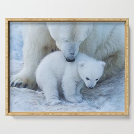 Polar Bear Mother and Cub portrait. Serving Tray