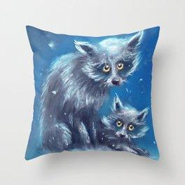 Spooky Snow Dogs Throw Pillow
