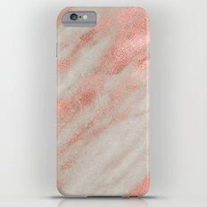 Marble Rose Gold Marble Foil on White iPhone Case and Throw Pillow Design Slim Case iPhone 6s Plus