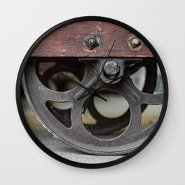 Center Wheel Vintage Wooden Dolly Warehouse Cart Wall Clock