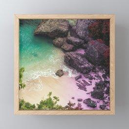 Whimsical Beach Water & Rocks Framed Mini Art Print