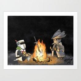 Resting at the Bonfire Art Print