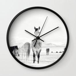 Winter Horse Landscape Wall Clock
