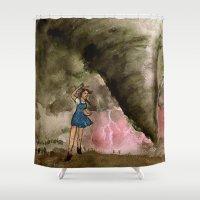 kansas Shower Curtains featuring Leaving Kansas by Jen Hallbrown