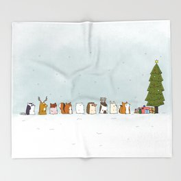 winter animals on the christmas tree Throw Blanket
