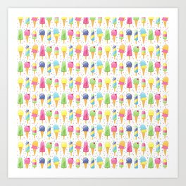 ice cream pattern art Art Print