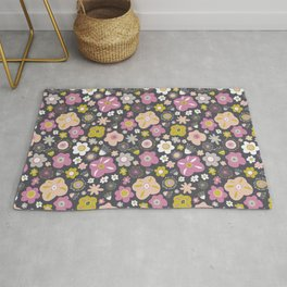 Magical Doodle Flower Pattern Purple Green Pink Gray Rug