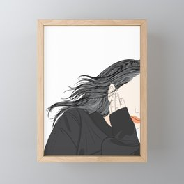 Girl with a beauty hairstyle Framed Mini Art Print