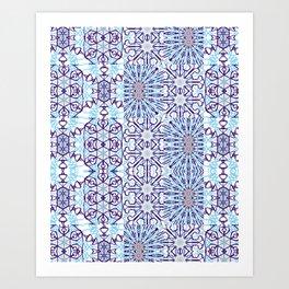 Blue Mandala Tiles Art Print