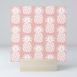 Retro Mid Century Modern Pineapple Pattern Dusty Rose 2 Mini Art Print