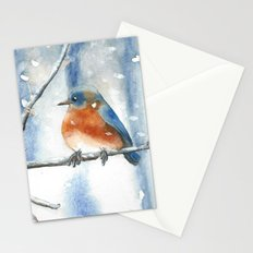 Little bird in the snow Stationery Cards