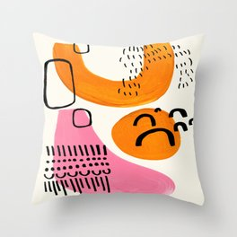 Vintage Abstract Mid Century Modern Playful Pink Yellow Ochre Organic Shapes Throw Pillow