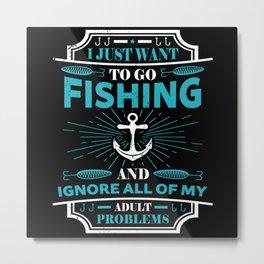 Fishing Angler Gift Fishing Route Fish Hook Metal Print