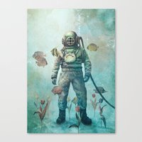 fish Canvas Prints featuring Deep Sea Garden  by Terry Fan
