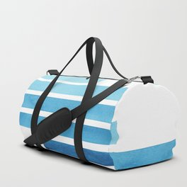 Cerulean Blue Midcentury Modern Minimalist Staggered Stripes Rectangle Geometric Aztec Pattern Water Duffle Bag