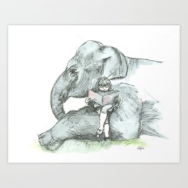 Elephant Girl Art Print