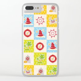 pirate design lighthouse compass crab palm treasure ship anchor. Clear iPhone Case