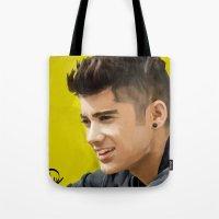 zayn malik Tote Bags featuring Zayn Malik by Tune In Apparel