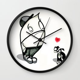pouty face loves his dog Wall Clock