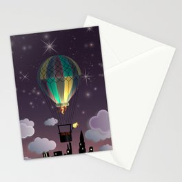 Balloon Aeronautics Night Stationery Cards