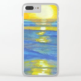 Sunset and ocean waves Clear iPhone Case