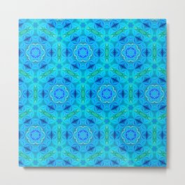 Blue Fractal Motiff Metal Print