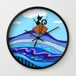 Cat  Fishing Wall Clock